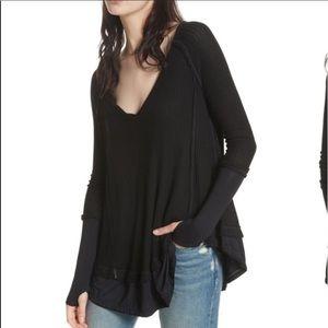 Free People Laguna Thermal Shirt Black size XS